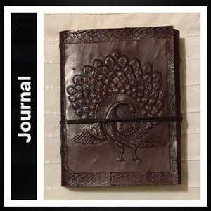 Leather Journal Handmade with Embossed Peacock